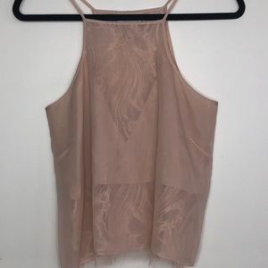 Mason Sheer silk blush pink tank top Small NWOT